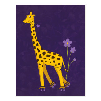 Funny Giraffe Roller Skating Purple Postcard