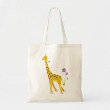 Funny Giraffe Roller Skating Tote Bags