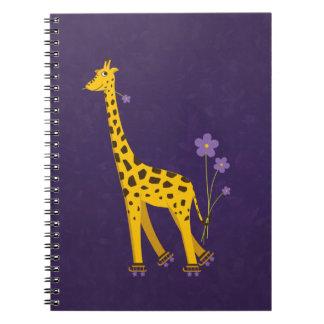 Funny Giraffe Roller Skating Violet Notebook