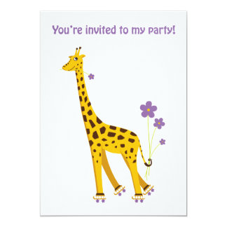 "Funny Giraffe Rollerskating 5"" X 7"" Invitation Card"