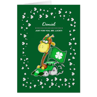 Funny Giraffe St. Patrick's Day Custom Cards