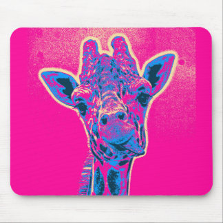 Funny Giraffe Sticking out his Tongue Mouse Pad