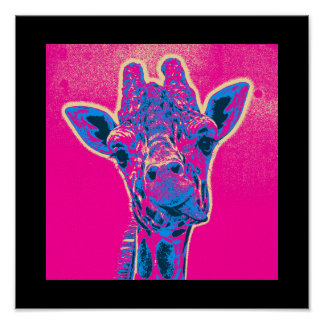 Funny Giraffe Sticking out his Tongue Poster