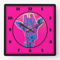 Funny Giraffe Sticking out his Tongue Square Wall Clock