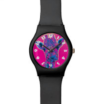 Funny Giraffe Sticking out his Tongue Wristwatch
