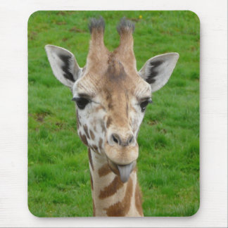 Funny Giraffe Sticking Out Tongue! Mouse Pad