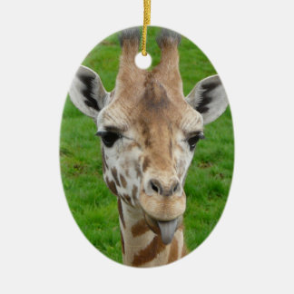 Funny Giraffe Sticking Out Tongue! Ornaments