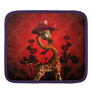 Funny giraffe, the lady iPad sleeve