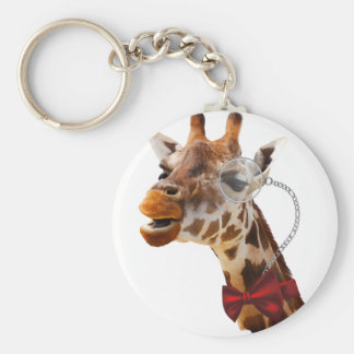 Funny Giraffe with Bowtie and Monocle Basic Round Button Keychain