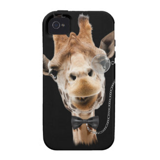 Funny Giraffe with Bowtie and Monocle iPhone 4 Cases