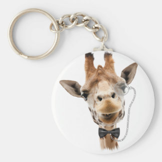 Funny Giraffe with Bowtie and Monocle Key Chain
