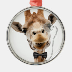 Funny Giraffe With Bowtie And Monocle Metal Ornament at Zazzle