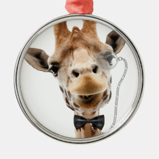Funny Giraffe with Bowtie and Monocle Metal Ornament