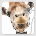 Funny Giraffe with Bowtie and Monocle Square Sticker