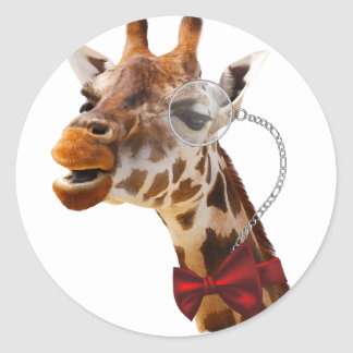 Funny Giraffe with Bowtie and Monocle Round Sticker