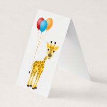 Funny giraffe with colorful balloons business card