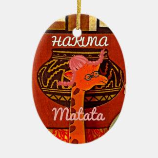 Funny Giraffe with cool text Hakuna Matata Ceramic Ornament