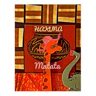 Funny Giraffe with cool text Hakuna Matata Postcard