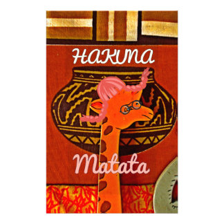 Funny Giraffe with cool text Hakuna Matata Stationery