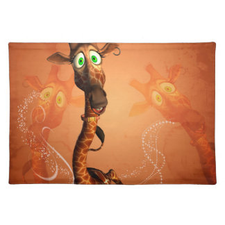 Funny giraffe with earring cloth placemat