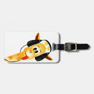 funny giraffe with headphones bag tag