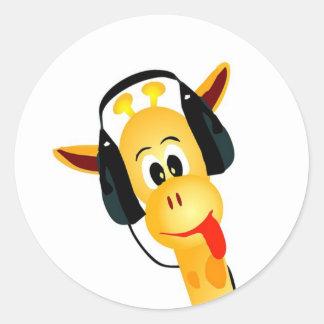 funny giraffe with headphones classic round sticker