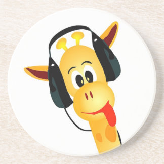 funny giraffe with headphones drink coaster