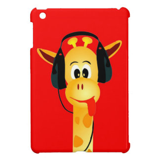 funny giraffe with headphones comic style cover for the iPad mini