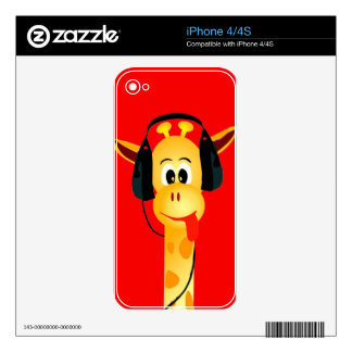 funny giraffe with headphones comic style iPhone 4S skin