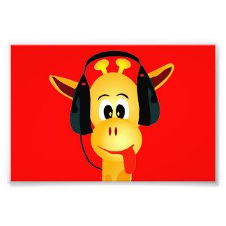 funny giraffe with headphones comic style photo print