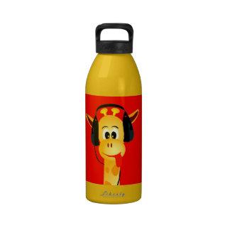 funny giraffe with headphones comic style water bottle