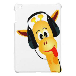 funny giraffe with headphones cover for the iPad mini