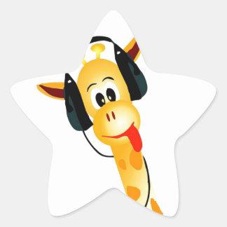 funny giraffe with headphones star sticker