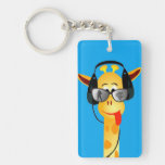 funny giraffe with headphones summer glasses comic rectangular acrylic keychain