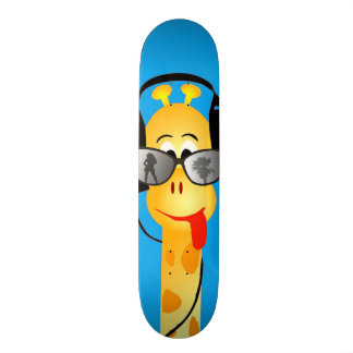 funny giraffe with headphones summer glasses comic skateboard decks