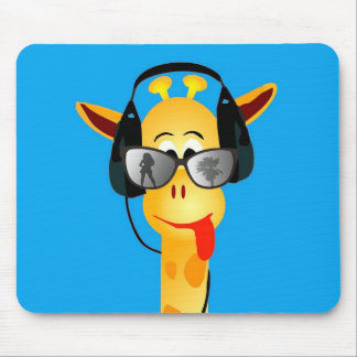 funny giraffe with headphones summer glasses mouse pad