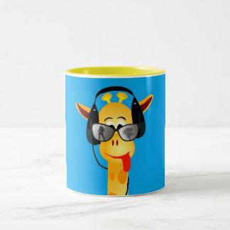 funny giraffe with headphones summer glasses coffee mug