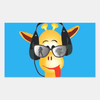 funny giraffe with headphones summer glasses rectangular sticker