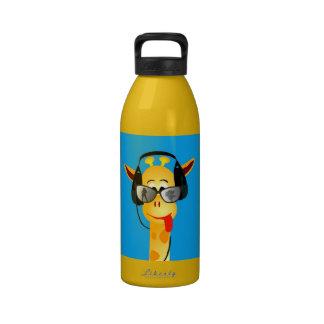 funny giraffe with headphones summer glasses drinking bottle