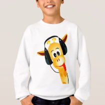 funny giraffe with headphones sweatshirt