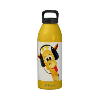 funny giraffe with headphones drinking bottles