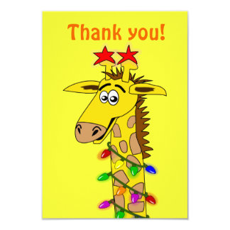 Funny Giraffe With Lights Whimsical Christmas 3.5x5 Paper Invitation Card