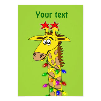 Funny Giraffe With Lights Whimsical Christmas 5x7 Paper Invitation Card