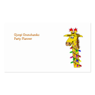 Funny Giraffe With Lights Whimsical Christmas Double-Sided Standard Business Cards (Pack Of 100)