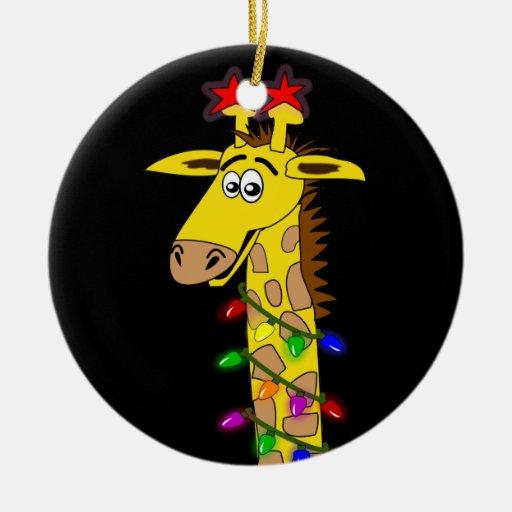 Funny Giraffe With Lights Whimsical Christmas Ceramic Ornament