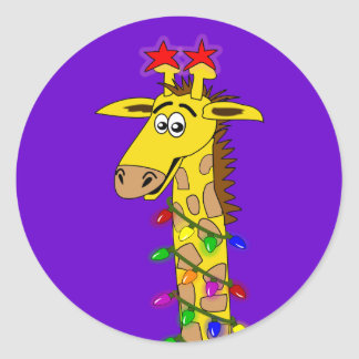 Funny Giraffe With Lights Whimsical Christmas Classic Round Sticker