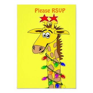 Funny Giraffe With Lights Whimsical Christmas Personalized Announcement