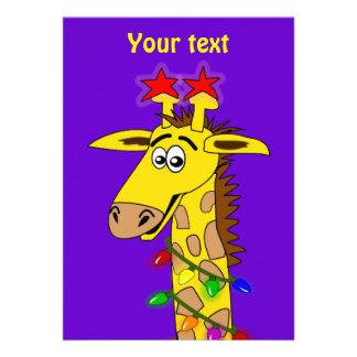 Funny Giraffe With Lights Whimsical Christmas Custom Invitation