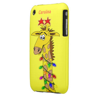Funny Giraffe With Lights Whimsical Christmas iPhone 3 Cases