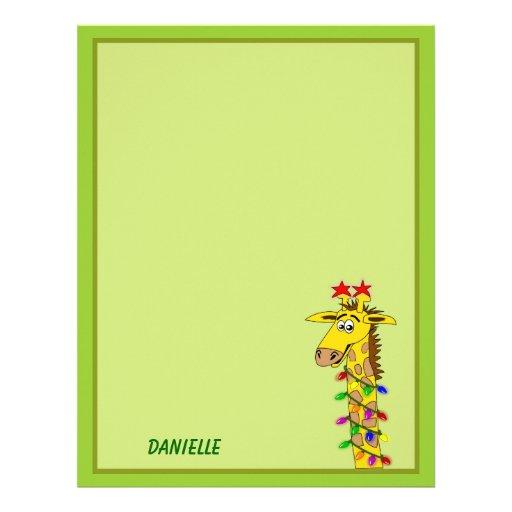 Funny Giraffe With Lights Whimsical Christmas Letterhead